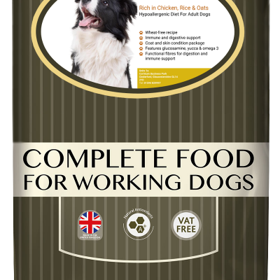 High-quality chicken dog food, with high protein for working dogs chosen by us for its great value bag