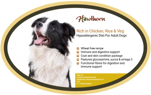 HAWTHORN SUPER PREMIUM DOG FOOD WITH CHICKEN, RICE & VEG Product Label