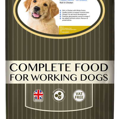 High-quality puppy junior food with chicken, with high protein for working dogs chosen by us for its great value bag