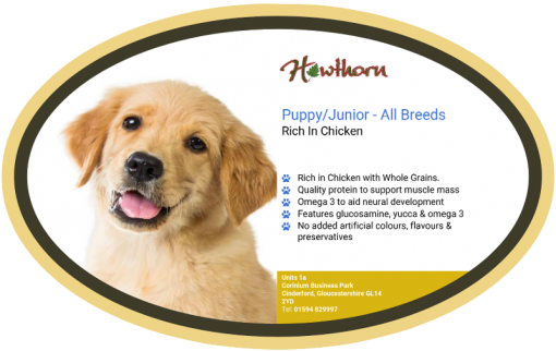 High-quality puppy junior food with chicken, with high protein for working dogs chosen by us for its great value label