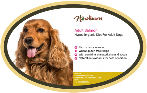 High-quality salmon dog food, with high protein for working dogs chosen by us for its great value label