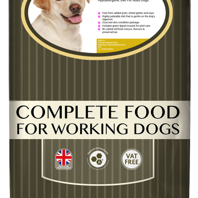 High-quality salmon and potato dog food, with high protein for working dogs chosen by us for its great value bag