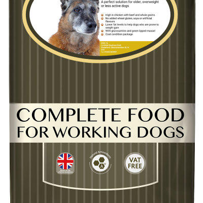 High-quality senior light chicken and beef dog food, with high protein for working dogs chosen by us for its great value bag