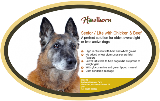 High-quality senior light chicken and beef dog food, with high protein for working dogs chosen by us for its great value label