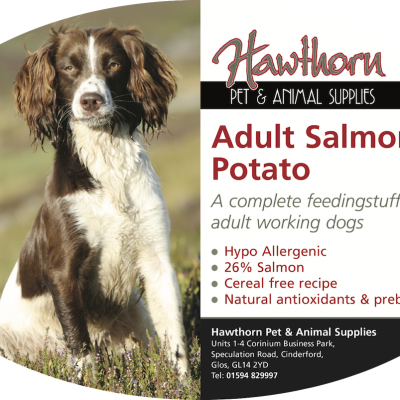 Super Premium Salmon And Potato Adult Dog Food own label super premium hawthorn pet food supplies animal feed local cinderford dog