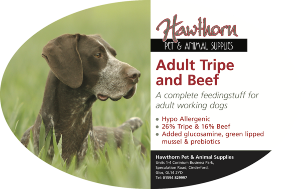 own label super premium hawthorn pet food supplies animal feed local cinderford dog Hawthorn Super Premium Adult Tripe And Beef