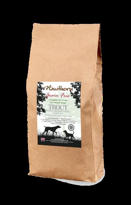 hawthorn pet supplies grain free dog food senior light trout and salmon plain bag shot 15 Kg