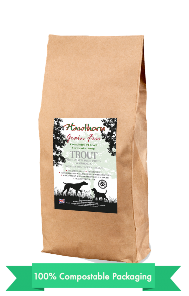 hawthorn pet supplies grain free dog food senior trout plain bag shot