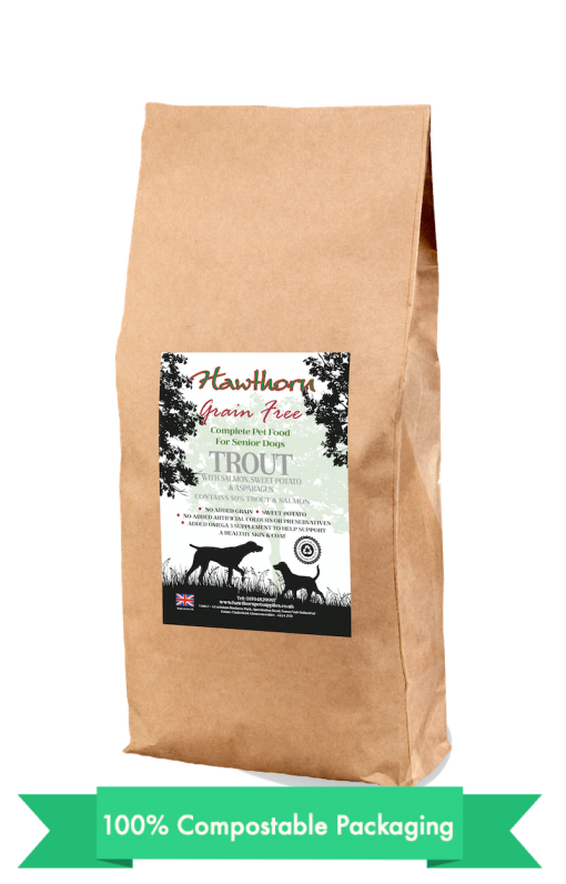 hawthorn pet supplies grain free dog food senior trout plain bag shot