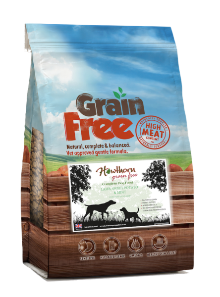 Hawthorn grain free dog food with lamb, sweet potato and mint. hypoallergenic food no gluten designed for sensitivity