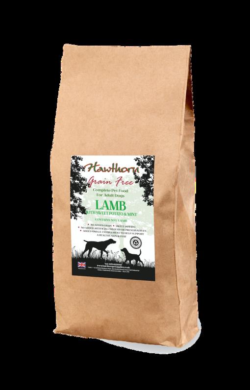hawthorn pet supplies grain free dog food lamb plain bag shot 15 Kg