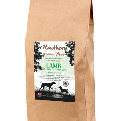 hawthorn pet supplies grain free dog food lamb plain bag shot