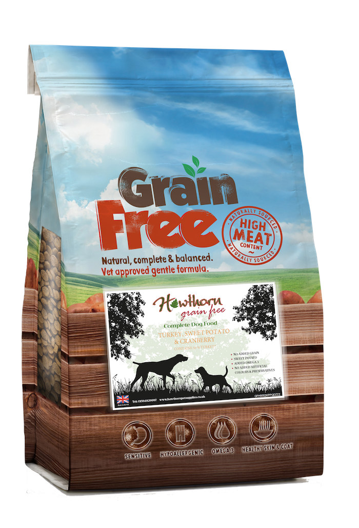 Grain Free Turkey Dog Food with Sweet Potato And Cranberry hypoallergenic gluten free
