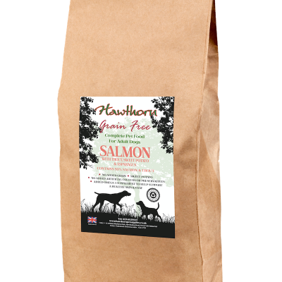 hawthorn pet supplies grain free dog food salmon plain bag shot