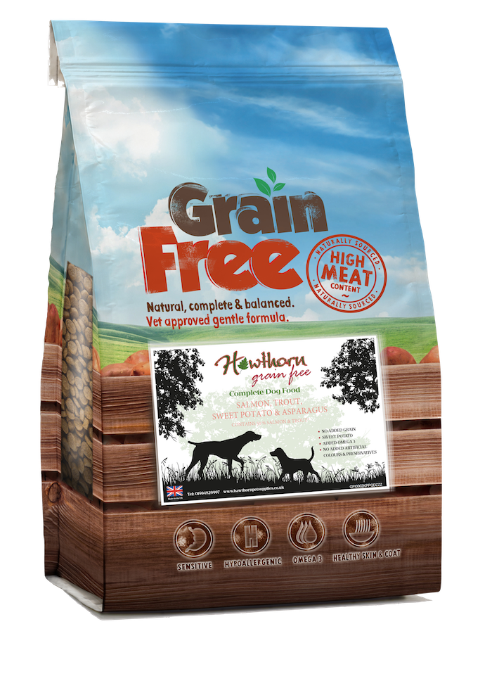 Grain free salmon trout dog food sweet potato asparagus hypoallergenic recipe no grains no gluten free sensitivity