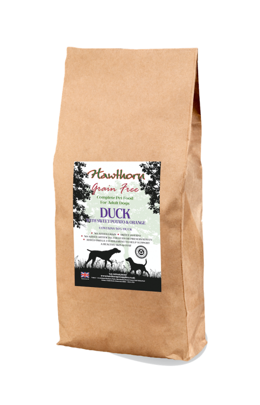 hawthorn pet supplies grain free dog food duck plain bag shot 15 Kg