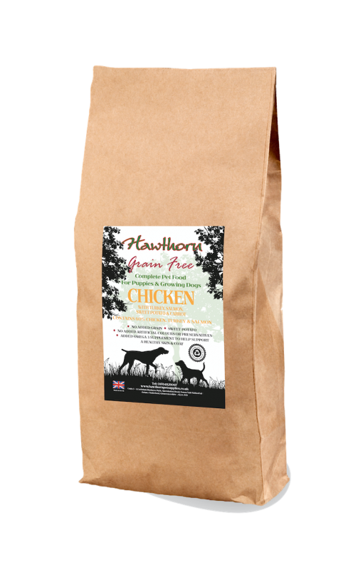 hawthorn pet supplies grain free dog food puppy chicken plain bag shot 15 Kg