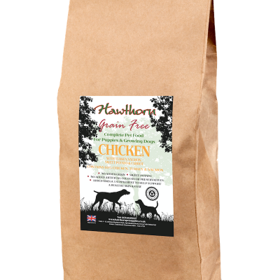 hawthorn pet supplies grain free dog food puppy chicken plain bag shot