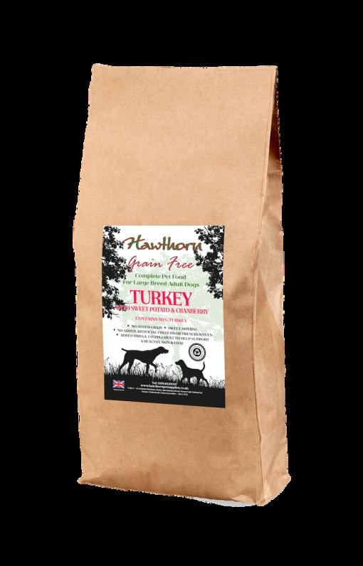 hawthorn pet supplies grain free dog food large breed turkey plain bag shot 15 Kg