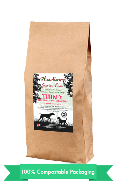 hawthorn pet supplies grain free dog food large turkey plain bag shot