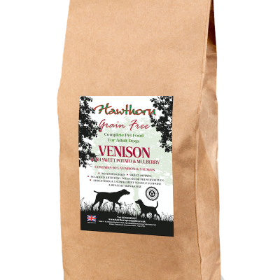 hawthorn pet supplies grain free dog food venison plain bag shot