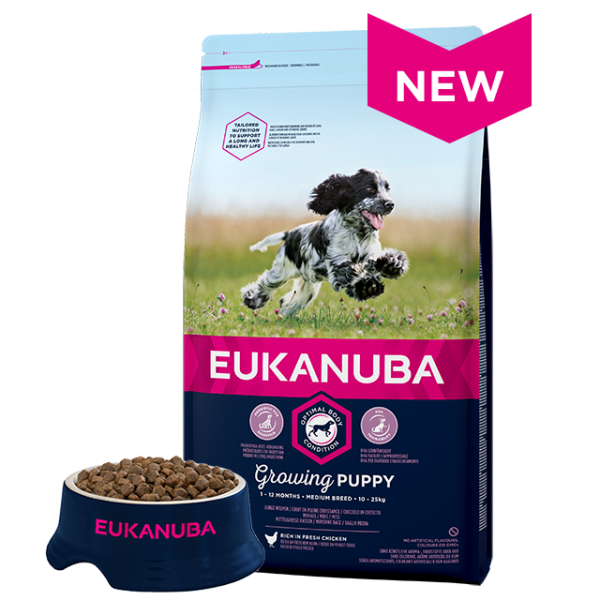 Eukanuba Puppy Medium Breed Chicken Bag Shot Front - Dog Food