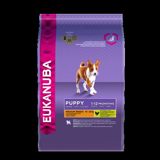 Eukanuba Puppy Medium Breed Chicken Bag Shot Front - Dog Food