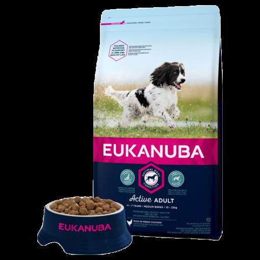Eukanuba Adult Medium Breed Chicken Bag Shot Front - Dog Food