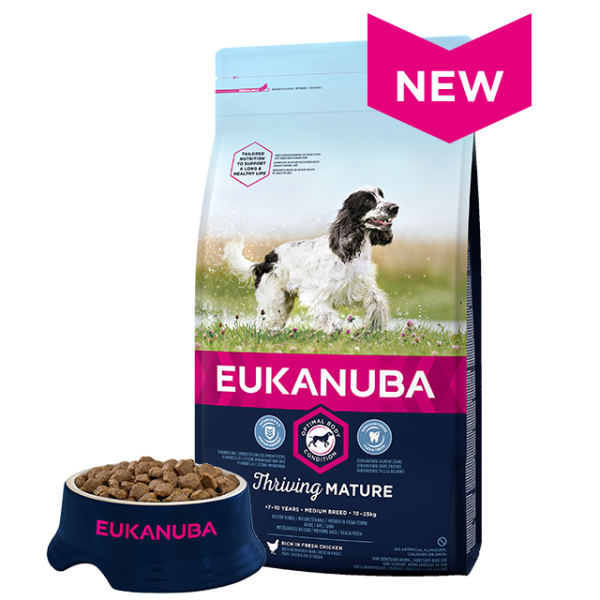 Eukanuba Mature Medium Breed Chicken Bag Shot Front - Dog Food