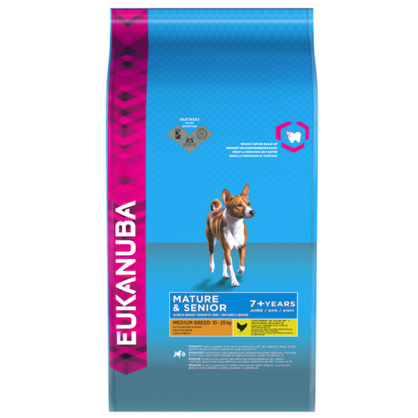Eukanuba Mature & Senior Medium Breed Chicken Bag Shot Front - Dog Food