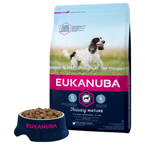 Eukanuba Mature Medium Breed Chicken Bag Shot Front - Dog Food