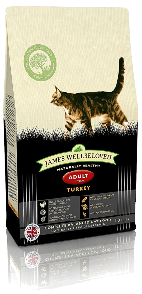 James Wellbeloved Turkey and Rice Dry Adult Cat Food - 10 kg