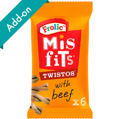 misfits twistos dog treats 6 pack beef