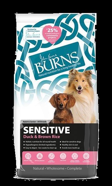 Burns Sensitive + Adult Dog Food Duck and Brown Rice