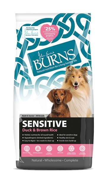 Burns Sensitive + Adult Dog Food Duck and Brown Rice