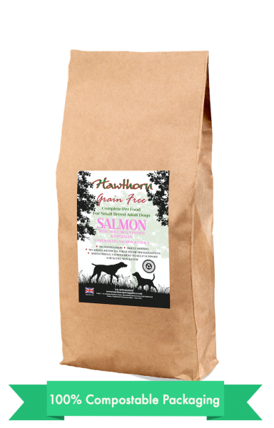 hawthorn pet supplies grain free dog food small salmon plain bag shot