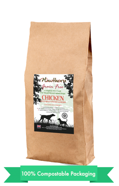 hawthorn pet supplies grain free dog food small chicken plain bag shot