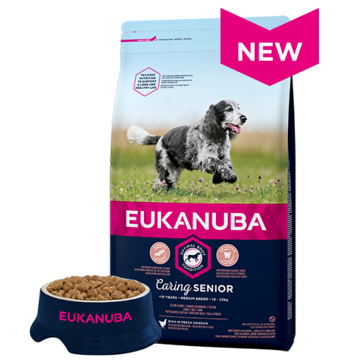 Eukanuba Senior Medium Breed Chicken Bag Shot Front - Dog Food