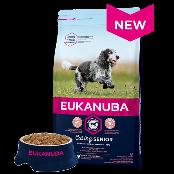 Eukanuba Senior Medium Breed Chicken Bag Shot Front - Dog Food