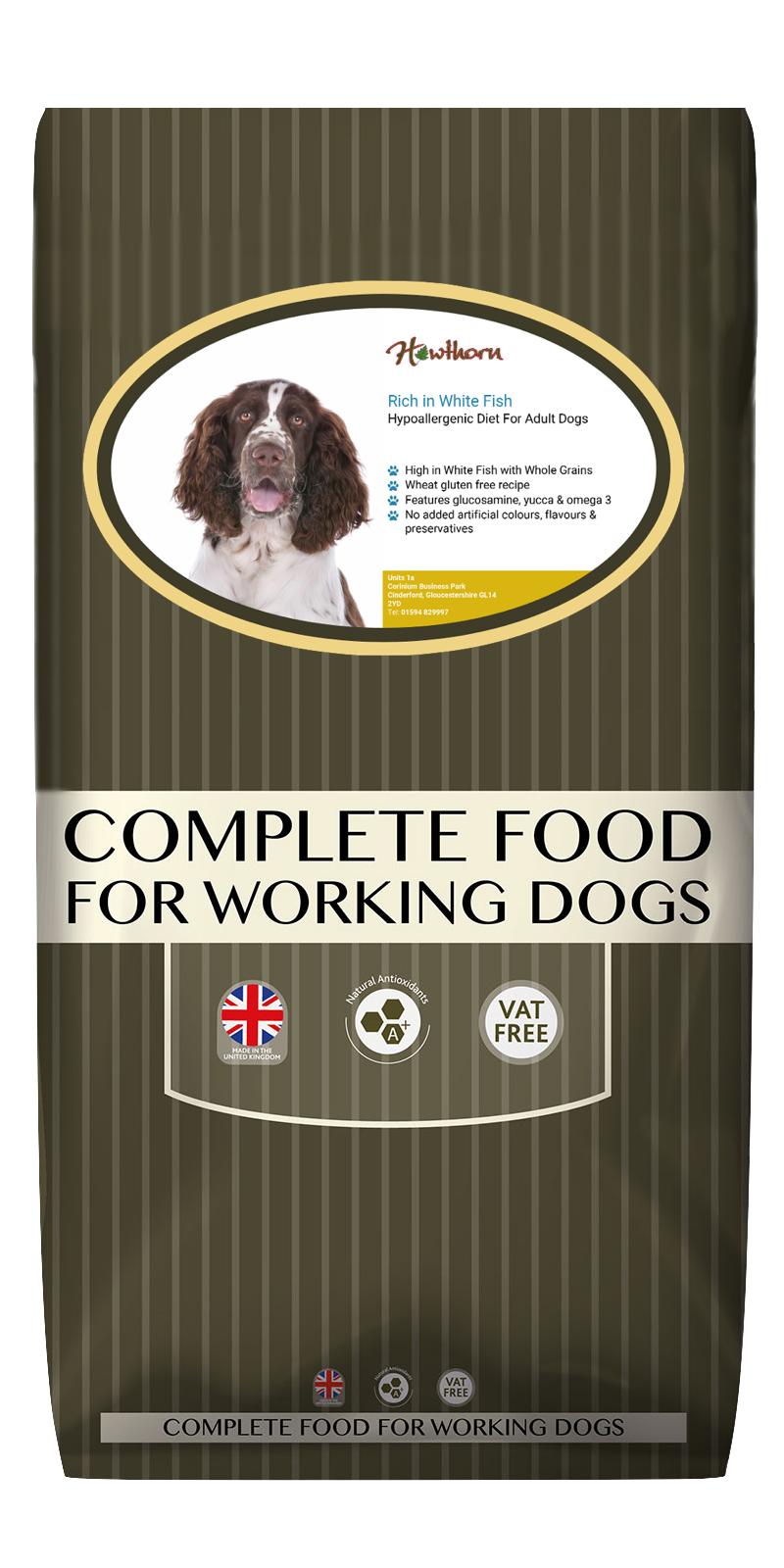 High-quality white fish and whole grain dog food, with high protein for working dogs chosen by us for its great value bag