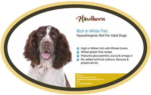 High-quality white fish and whole grain dog food, with high protein for working dogs chosen by us for its great value label