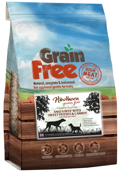 grain free dog food adult - Angus beef, Sweet Potato And carrot bag shot hawthorn