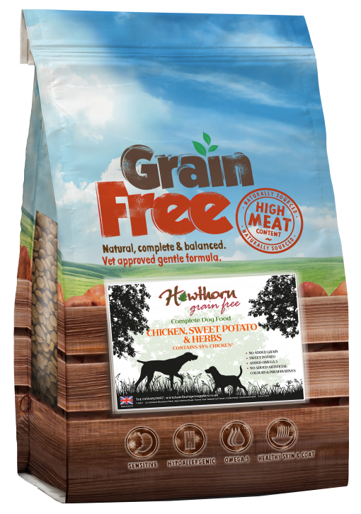 grain free adult dog food chicken sweet potato and herbs