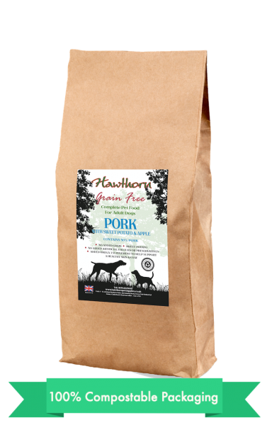 hawthorn pet supplies grain free dog food pork, sweet potato and apples plain bag shot