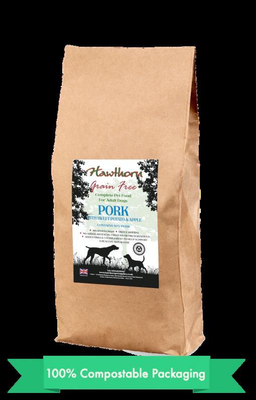 hawthorn pet supplies grain free dog food pork, sweet potato and apples plain bag shot