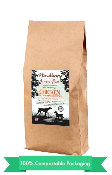 hawthorn pet supplies grain free dog food chicken plain bag shot