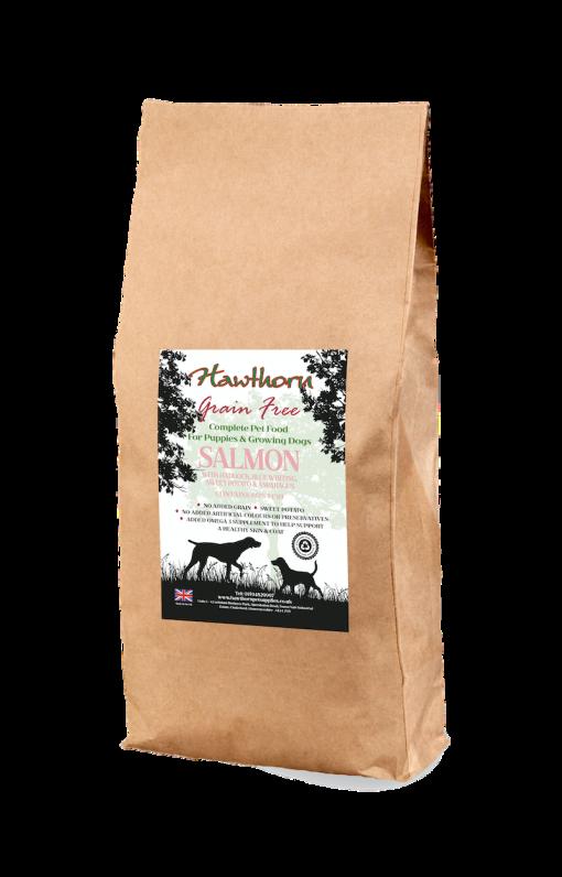 hawthorn pet supplies grain free dog food puppy salmon plain bag shot 15 Kg