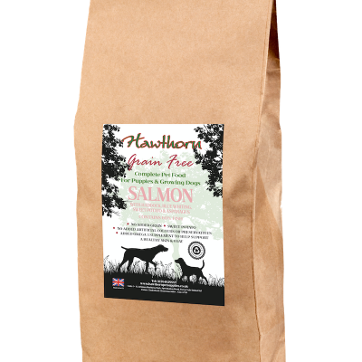 hawthorn pet supplies grain free dog food puppy salmon plain bag shot