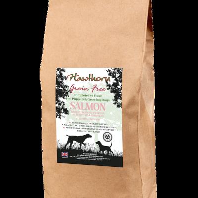 hawthorn pet supplies grain free dog food puppy salmon plain bag shot