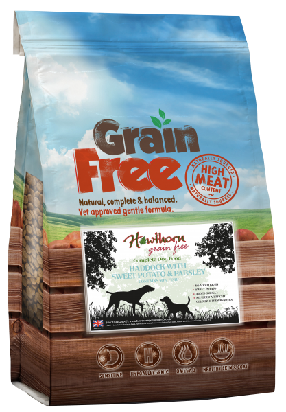 grain free dog food adult - Haddock, Sweet Potato And Parsley bag shot hawthorn
